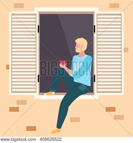 Male Character Resting At Home. Man Is Drinking Tea On Balcony Of House, Enjoys The View. Person Sta
