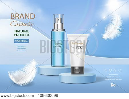 Cosmetic Tube With Moisturizing Cream On Vector Underwater Blue Shining Background. Premium Template