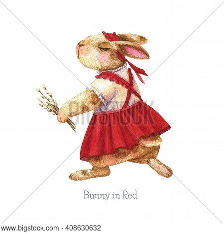 Bunny Illustration. Girl Rabbit In Red Dress. Watercolor Cute Animal