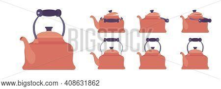 Tea Retro Kettle Set, Metallic Teapot In Classic Design. Household Appliance With Lid, Spout, Handle