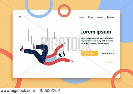 Scared Man Falling Down. Cartoon Male Character Flying On Ground Flat Vector Illustration. Accident,