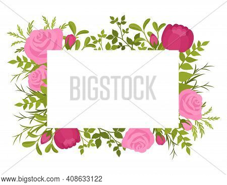 Floral Spring Rectangular Frame, Beautiful Greenery And Flower Design. Invitations, Wedding, Rehears