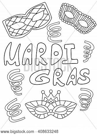Mardi Gras Set With Venetian Masks, Serpentines And Lettering Black And White Stock Vector Illustrat