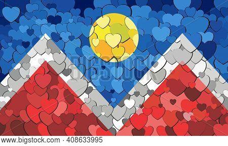 Denver Flag Made Of Hearts Background - Illustration