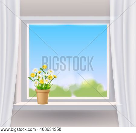 Window View In Interior, Spring, Flower Pot With Flowers Daisy And Dandelions On Windowsill, Curtain