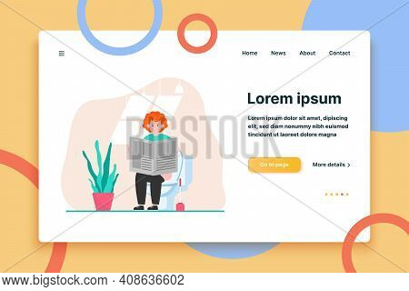 Red-haired Guy Sitting In Toilet And Reading Newspaper. News, Lavatory, Bathroom Flat Vector Illustr