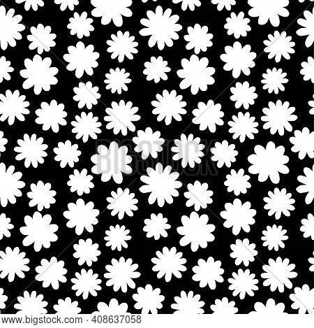 Daisy Flower Black And White Simple Seamless Pattern Vector. Hand Drawn Primitive Floral Endless Tex