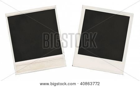 Two sides of the old empty frames isolated over white