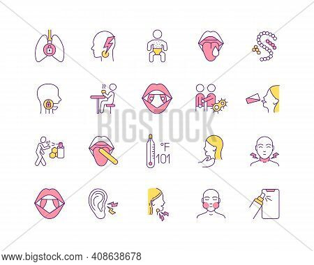 Influenza Treatment Rgb Color Icons Set. Viral Mouth Infections. Health Problem Sign. Tonsillitis, P