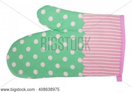 Lovely modern mitt oven glove striped with dots isolated on white background