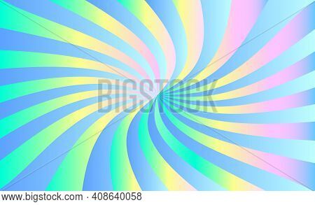 Abstract Iridescent Background Of Stripes, Twisting In A Spiral. Vector Design Element.