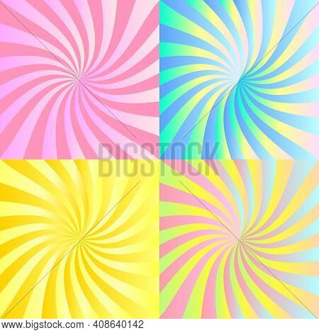 Abstract Iridescent Square Backgrounds Made Of Stripes Twisting In A Spiral. 4 Backgrounds As Design