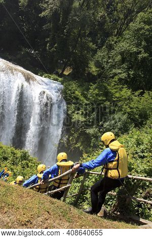 Terni (tr), Italy - May 10, 2016: Setting Off On A Rafting And Kayaking Trip On River Near The Famou