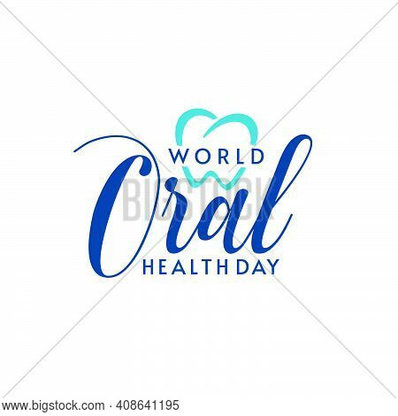 Isolated Logo Design With World Oral Health Day Typographic Lettering And Heart Shape. Dental Logo D