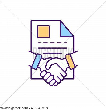 Documents Agreement Rgb Color Icon. Contract Management Processes. Signing Official Agreement Docume