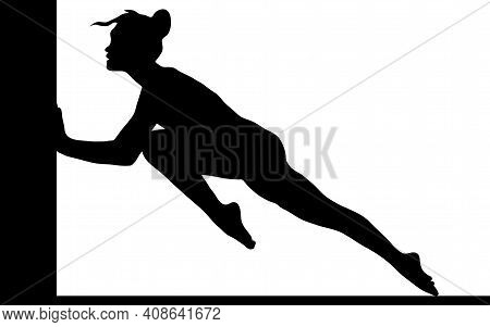 Vector Illustration Symbolic Meaning Black Silhouette Of A Gymnast Who Rests Against A Wall Overcomi