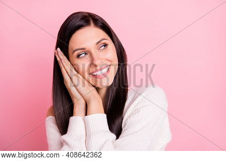 Portrait Of Young Lovely Smiling Cheerful Positive Pretty Girl Daydreaming Look Copyspace Isolated O