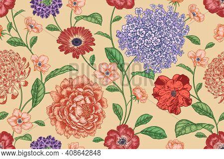 Floral Seamless Pattern. Flowers Roses, Peonies, Hydrangea, Chrysanthemum. Handmade Graphics. Victor