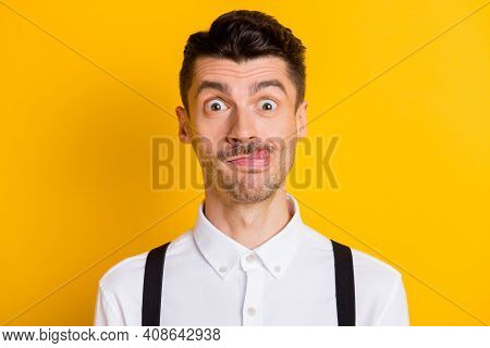Photo Portrait Of Young Student Fooling Grimacing Showing Tongue Silly Idiot Isolated On Vibrant Yel