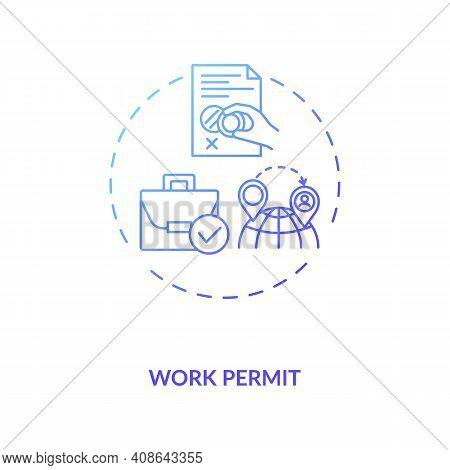 Work Permit Concept Icon. Work Immigration Idea Thin Line Illustration. Pandemic Adaptation. Busines