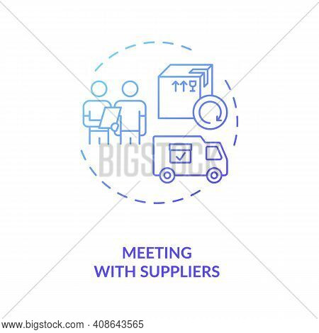 Meeting Wtith Suppliers Concept Icon. Business Trip Idea Thin Line Illustration. Pandemic Adaptation