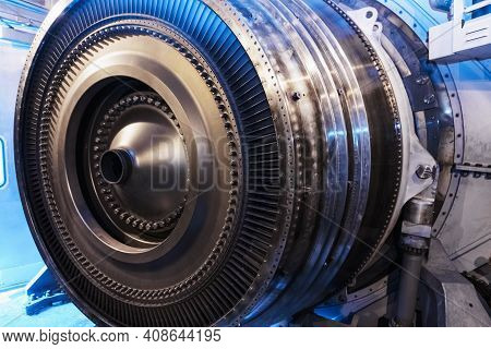 Turbine Generator Rotor With Blades And Discs, Interior View.