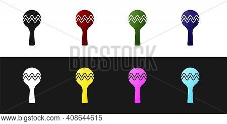 Set Maracas Icon Isolated On Black And White Background. Music Maracas Instrument Mexico. Vector