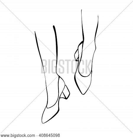Slender Female Legs In Stilettos. Hand-drawn Fashion Illustration