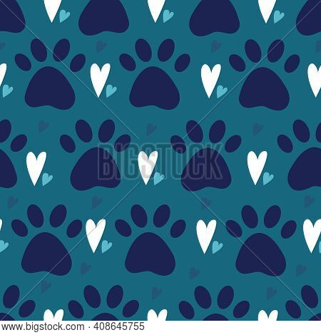 Seamless Pattern With Dog Or Cat Pet Paw Silhouette And Hearts. Simple Flat Vector Illustration Back