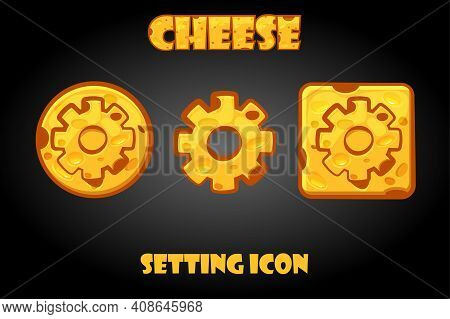 Vector Set Of Cheesy Settings Buttons For Game.