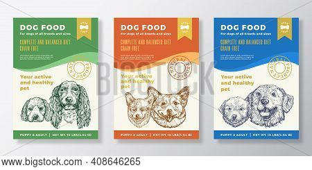 Dog Food Label Templates Set. Abstract Vector Packaging Design Layouts Collection. Typography Banner