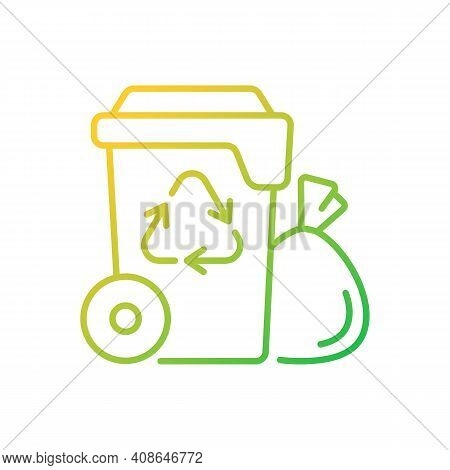 Residential Waste Collection Gradient Linear Vector Icon. Garbage Pickup. Household Waste. Residenti