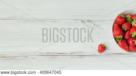 Fresh Strawberries On Ceramic Bowl Top View. Healthy Food On White Wooden Table Mockup. Delicious, S