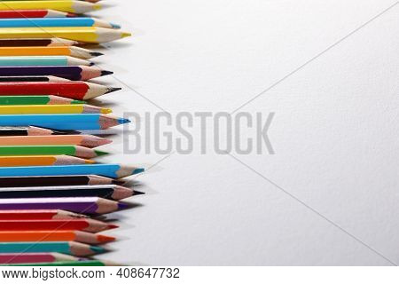 Color Pencils Set, Row Wooden Color Pencils Isolated On White Background. Colored Pencils For Drawin