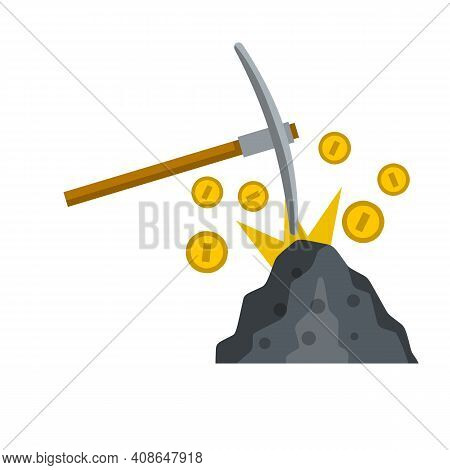 Miner Pick And Gold Coins. Cryptocurrency And Earnings On Internet. Cartoon Flat Illustration. Stone