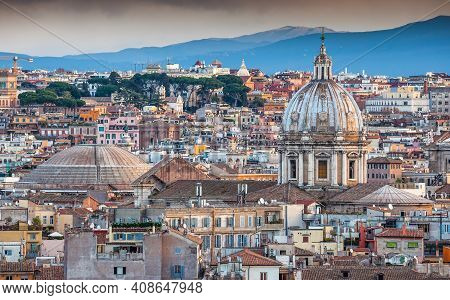 Dome Of The Pantheon And Dome Of Church Of St. Andrew Of The Valley In Rome