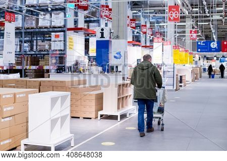 Moscow, Russia - January 2, 2021: Interior Of Large Ikea Storehouse With A Wide Range Of Products.sh
