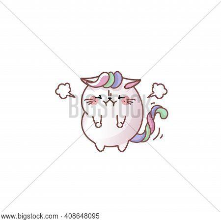 Cat Kitty Kitten Restrains Anger Angry Kawaii Chibi Japanese Style Emoji Character Sticker Emoticon
