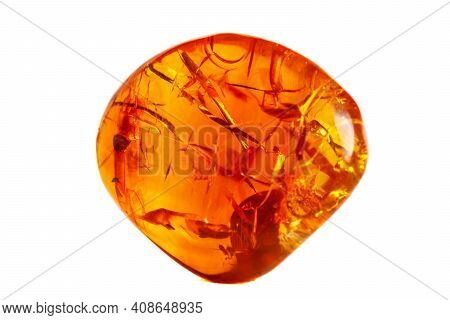 Macro Opal Mineral Stone In Rock On White Background