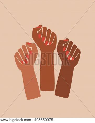 Black Fist Raised Feminist Power Poster Retro Graphic Card Design, History Month, Female Pride, Blac