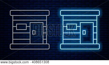 Glowing Neon Line Sauna Wooden Bathhouse Icon Isolated On Brick Wall Background. Heat Spa Relaxation