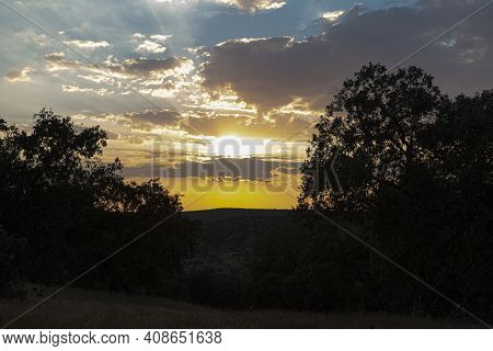 Sunset Landscape With Vibrant Colors In Southern Andalusia In Spain