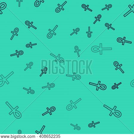 Black Line Cross Ankh Icon Isolated Seamless Pattern On Green Background. Vector