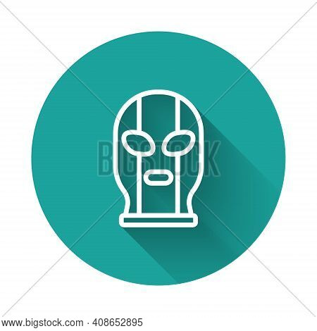 White Line Mexican Wrestler Icon Isolated With Long Shadow Background. Green Circle Button. Vector