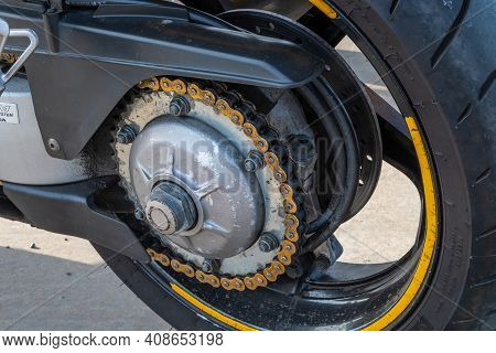 Kazan, Russia-september 26, 2020: Close-up Of The Rear Wheel, Chain Drive And Brake System Of A Moto