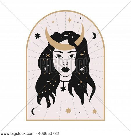 Celestial Woman Vector Illustration With Moon And Stars. Astrology Esoteric Boho Art. Mystic Astrono