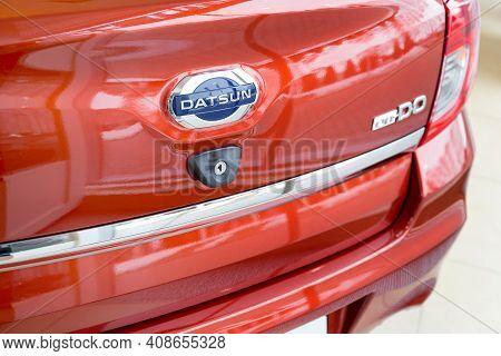 Russia, Izhevsk - March 19, 2020: Datsun Showroom. Logo Of New Modern On-do Cars In The Dealer Showr
