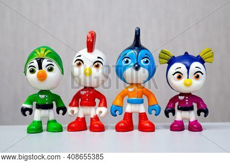 Minsk, Belarus - January 31, 2021: Top Wing Team Standing In A Row. Miniatures Of Heroes Of The Anim