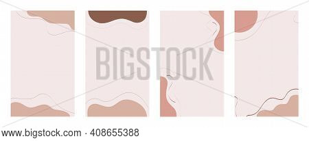 Set Of Abstract Backgrounds For Social Media. Shapes And Lines Of Postel Earthy Colors. Backdrop Tem