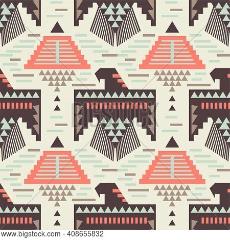 Native American Eagle Bird Seamless Pattern. Aztec Navajo Tribe Indian Art. Peru Geometric Vector Ba